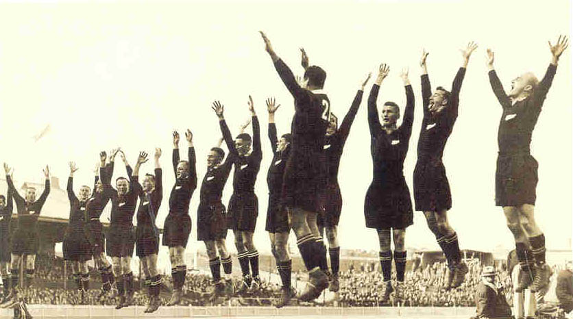 The All Blacks at the climax of their haka before the 1932 test against Australia at the exhibition ground, Brisbane.
