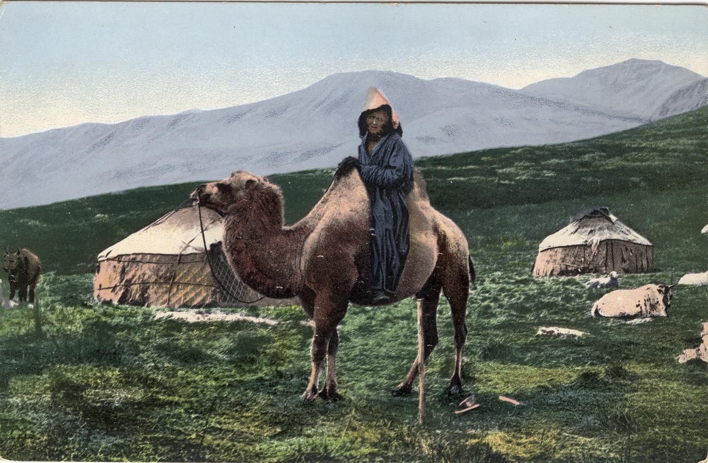 Казах на верблюде на фоне юрт. Долина реки Аракан, притока Черной Берели