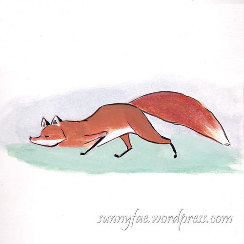 fox sniffing close to the ground in gouache