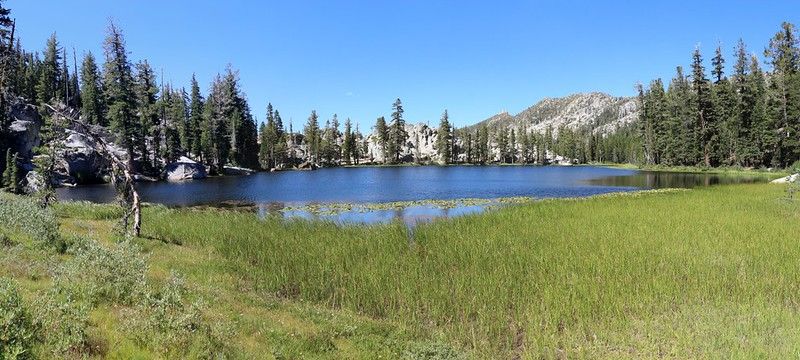 Panorama view from the reedy southern end of Rubicon Lake, with Rubicon Peak on the right
