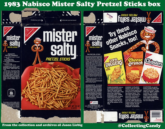 Nabisco - Mister Salty Pretzel Sticks - 10oz snack box package - 1983