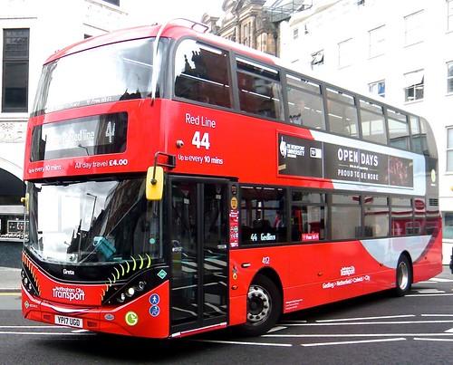YP17 UGD 'Nottingham City Transport' No. 412 'Red Line 44'. Scania N280UD / Alexander Dennis Ltd. Enviro 400CBG City on 'Dennis Basford's railsroadsrunways.blogspot.co.uk
