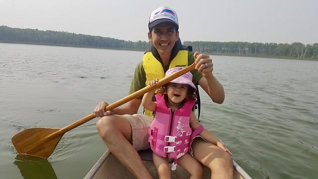 Astrid paddling