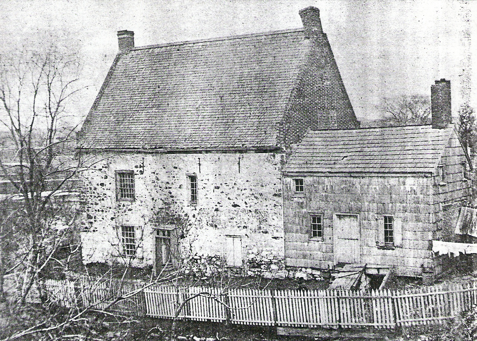 The front of the original Vechte-Cortelyou House, where the Maryland troops commanded by Lord Stirling and Mordecai Gist made two attacks against over two thousand British troops in a rear-guard action that allowed a majority of Stirling's 1,600-strong command to escape. Photo by John L. Pierrepont in the collection of the Brooklyn Historical Society
