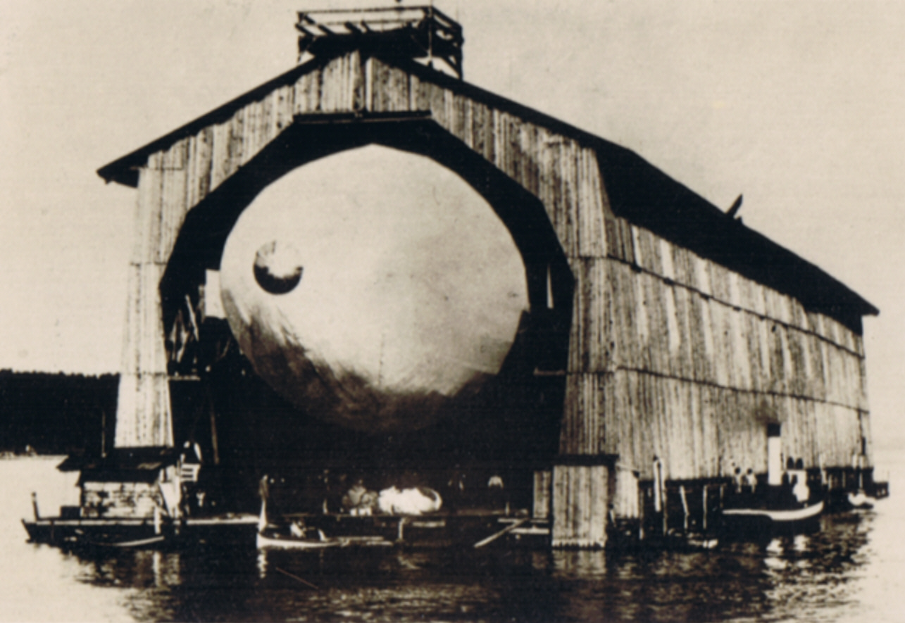 LZ 1 being extracted from her shed on July 1 or July 2, 1900.