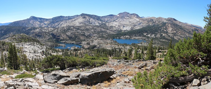Lower, Middle, and Upper Velma Lakes can all be seen in this panorama shot from the Tahoe-Yosemite Trail