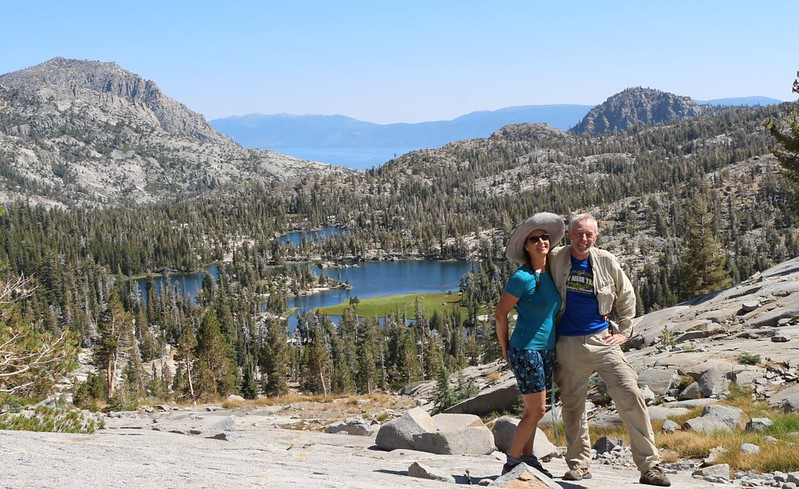 Posed timer shot of the two of us from the PCT looking down at Lower Velma Lake and Lake Tahoe