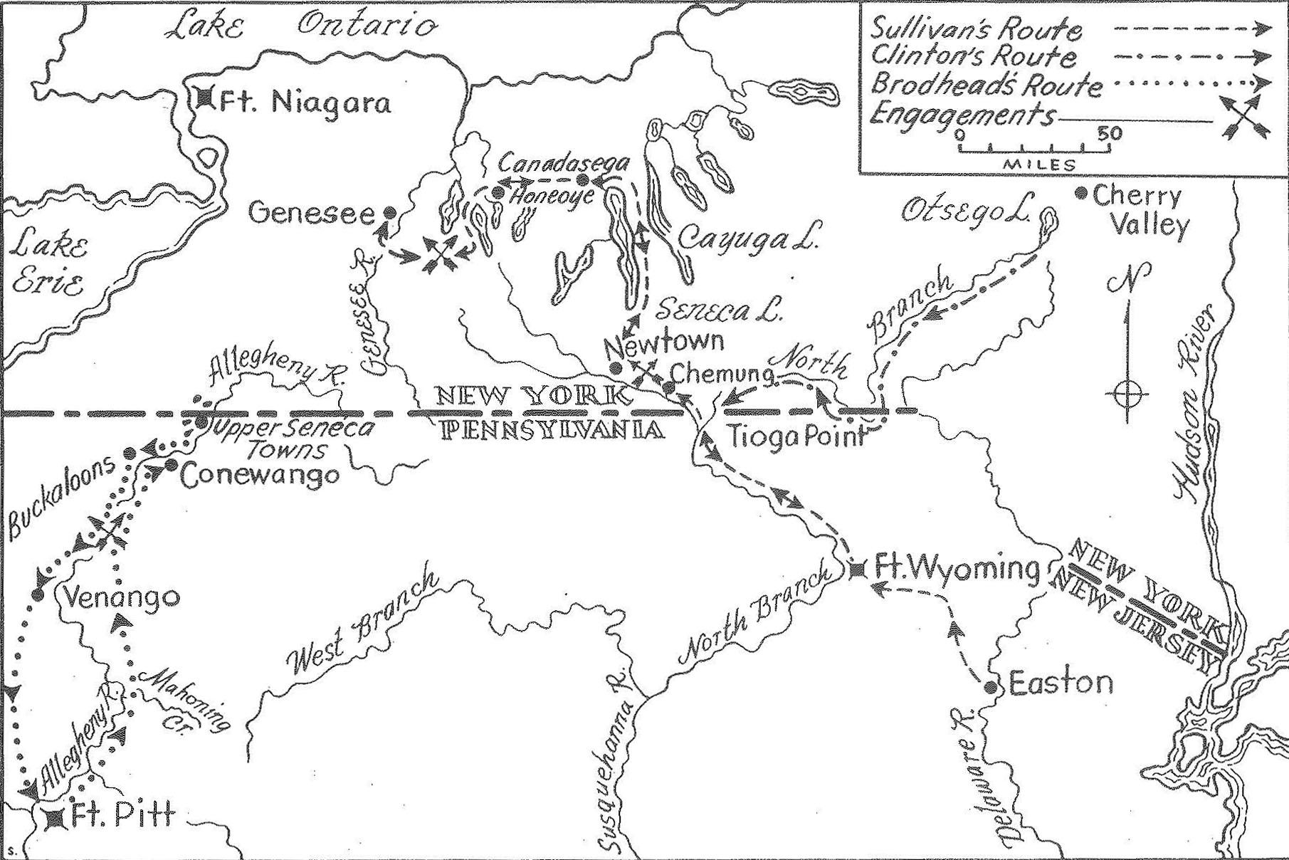 Map of the Sullivan campaign