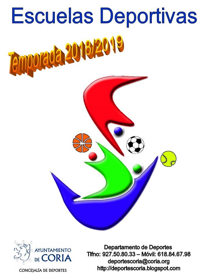 El Lunes 3 de Septiembre se abre el plazo de inscripción de as Escuelas Deportivas, Temporada 2018/2019.