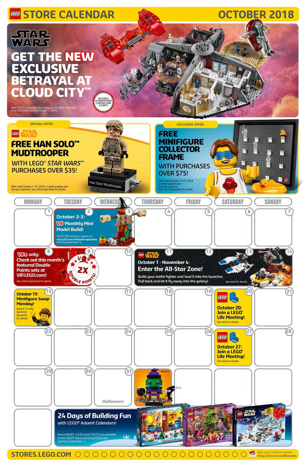 LEGO Brand Store Calendar October 2018