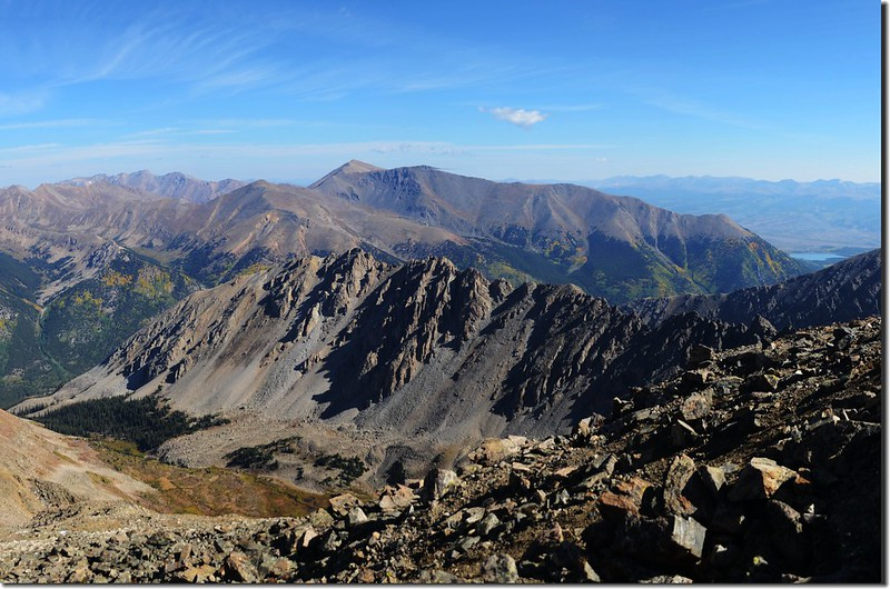 On top, looking over Ellingwood Ridge to Mount Elbert & Massive(center, in the distance) (5)