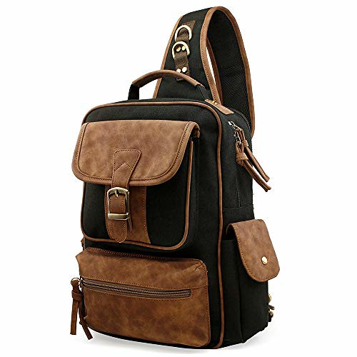 OCT17 Men Chest Shoulder Sling Backpacks Cross body Canvas Messenger Outdoor Travel Daypack