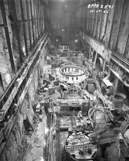 Boundary Dam machine hall under construction, 1965