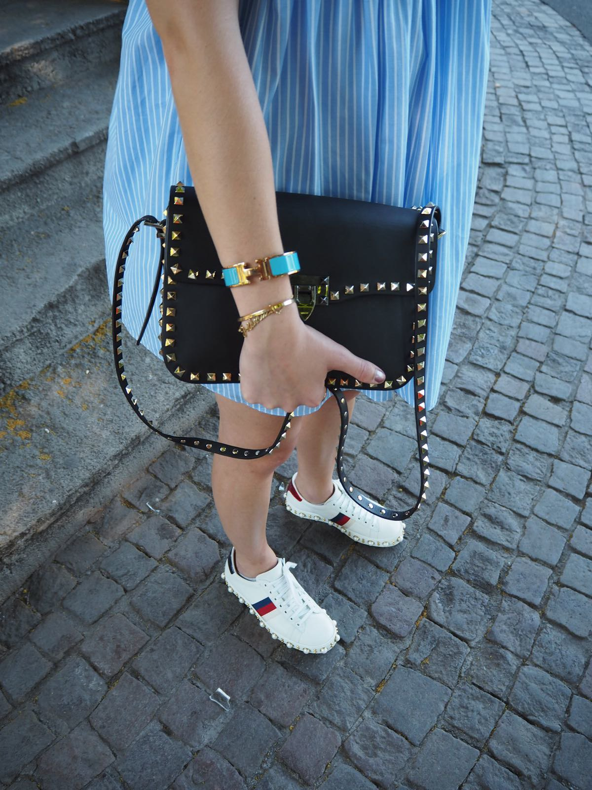blue-dress-and-gucci-ace-details-wiebkembg