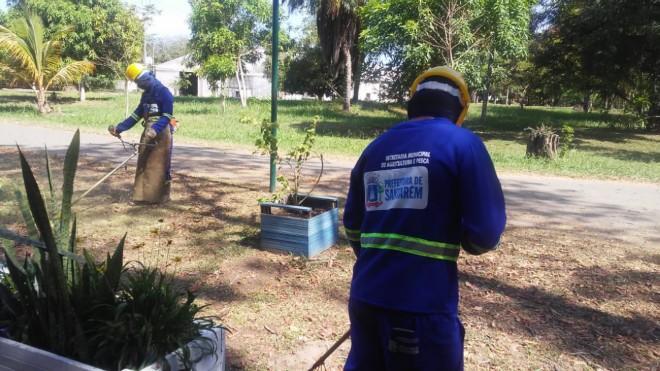 Prefeitura prepara Parque da Cidade para 11ª edição do Salão do Livro do Baixo Amazonas, Limpeza do Parque da Cidade