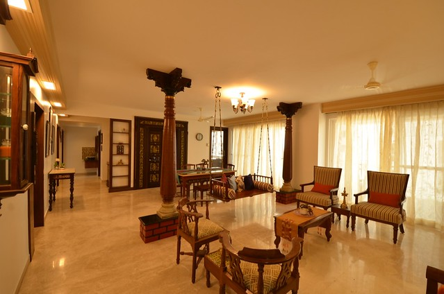 living room with pillars