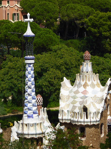 The spires of the building near the pavilion entrance at Park Güell designed by Gaudí