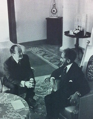 The Emperor of Ethiopia, Haile Selassie I, receives Vice President Hubert Humphrey