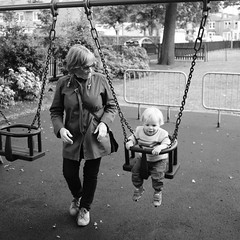 Granny with Ziggy on the swing