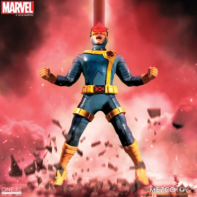 雷射特效超霸氣~~ MEZCO ONE:12 COLLECTIVE 系列 Marvel Comics【獨眼龍】Cyclops 1/12 比例人偶作品
