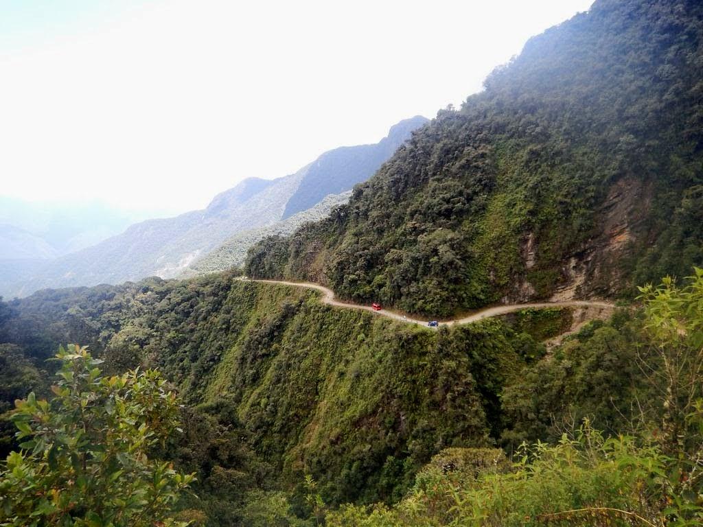 Death Road winding away below us