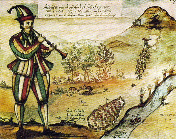 The oldest painting of the Pied Piper copied from the glass window of the Market Church (Marktkirche) in Hamelin Germany (c.1300-1633).