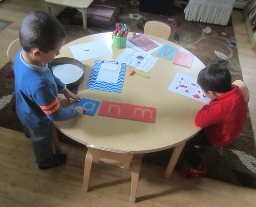 letter work & a red drawing