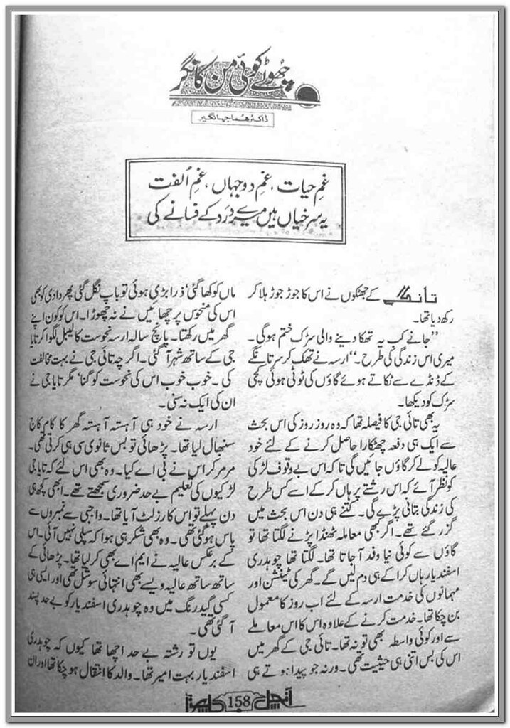 Chootay Koi Man Ka Nagar is a very well written complex script novel which depicts normal emotions and behaviour of human like love hate greed power and fear, writen by Huma Jahangir , Huma Jahangir is a very famous and popular specialy among female readers