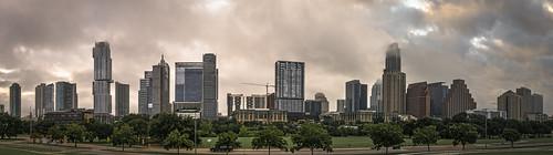 austin texas downtown dawn rain clouds cloudy panorama
