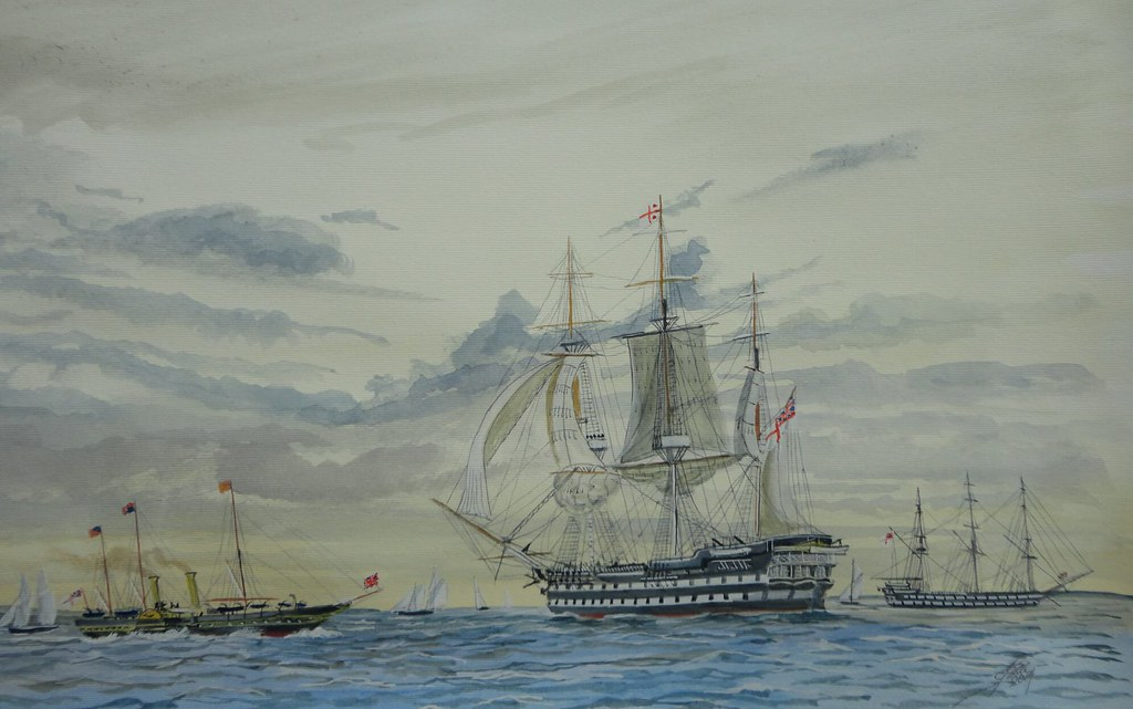 HMS Vengeance 25th May 1851. Queen Victoria and Prince Albert about to visit second rate Ship of the Line Vengeance off Spit Head in the Solent
