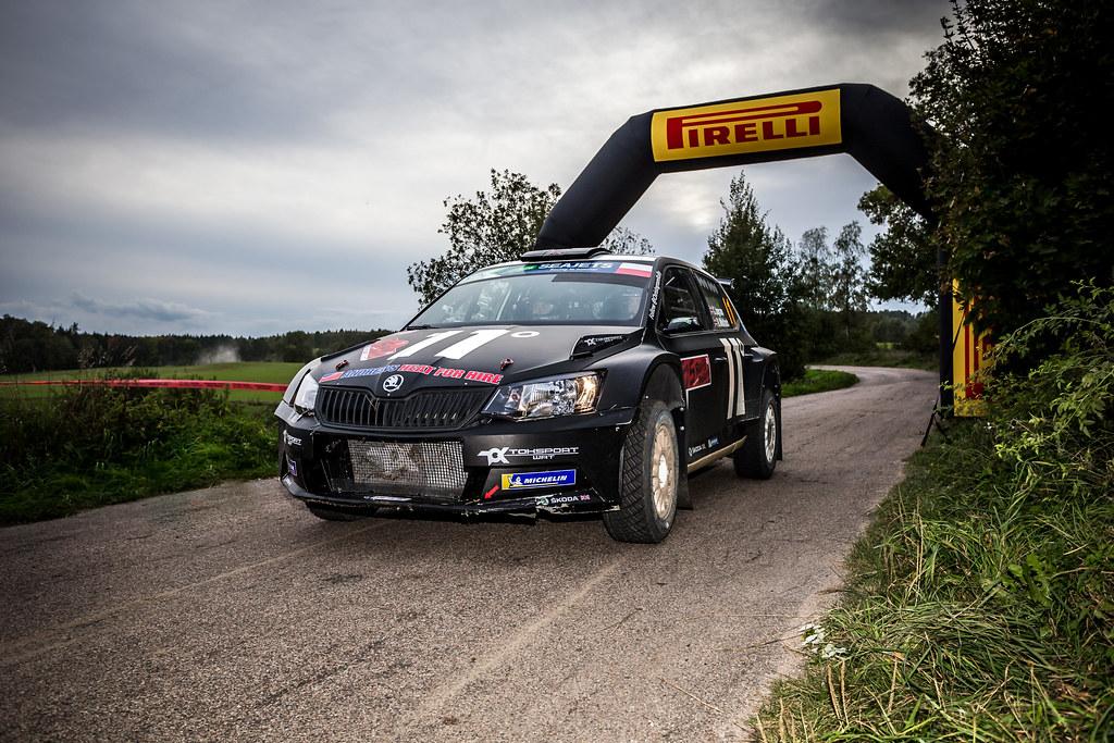 11 INGRAM Chris (GBR), WHITTOCK Ross (GBR), TOKSPORT WRT, Skoda Fabia R5, finish during the 2018 European Rally Championship Rally Poland at Mikolajki from September 21 to 23 - Photo Thomas Fenetre / DPPI