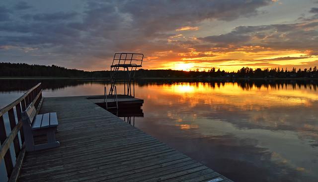 Sunset on the lake Päijänne. Sysmä, Finland. Summer 2018.