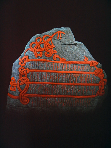 Apparently this rune stone at the Jelling Viking Museum in Denmark was originally painted in bright colours