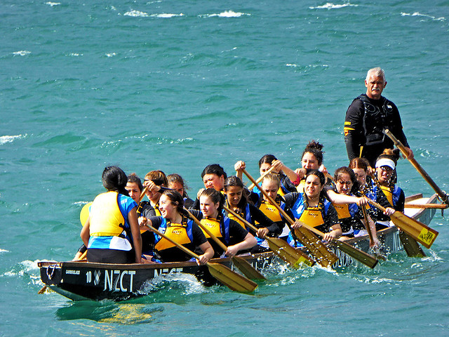 Photograph of Dragon Boat racing at Wellington's  Dragon Boat Festival in Wellington Harbour during Chinese New Year Celebrations.