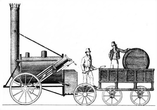 Rocket as it appeared before alterations in 1834. Published in Mechanics Magazine, 1829.