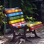 Rainbow bench at Soldiner Kiez playground, Gesundbrunnen, Berlin