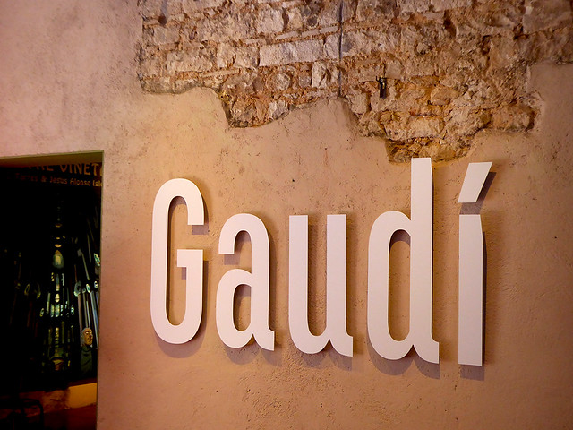 Entrance into Mueso Gaudi at Barcelona showing headline signage denoting Gaudí