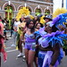 DSC_8538 Notting Hill Caribbean Carnival London Exotic Colourful Purple and Blue Costume with Feather Headdress Girls Dancing Showgirl Performers Aug 27 2018 Stunning Ladies