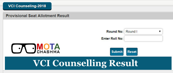 AIPVT VCI Counselling Result