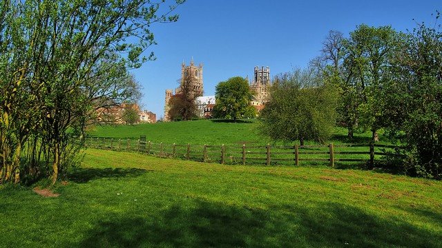 Cathedral view from Cherry Hill Park across Dean's Meadow, Ely, Cambridgeshire, England ..