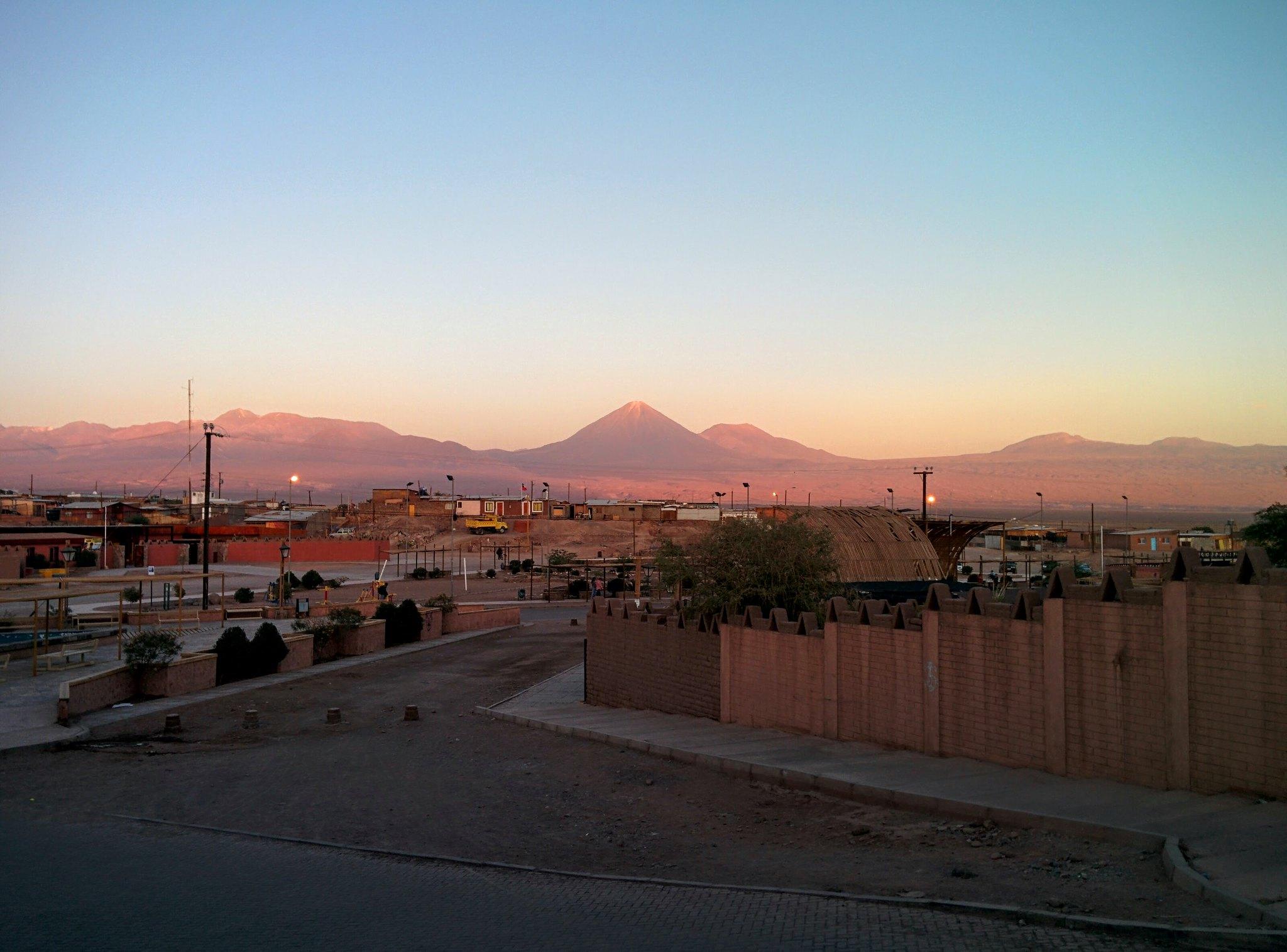 The mountain range behind San Pedro at sunset