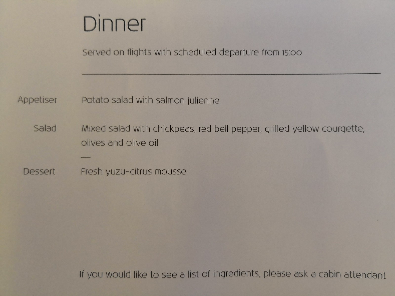 Dinner menu