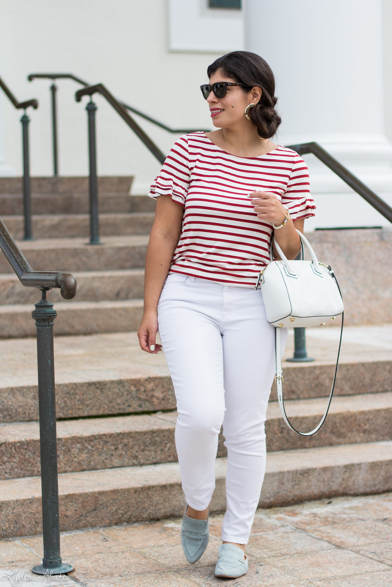 striped ruffle sleeve tee, white jeans, blue loafers, white bag-5.jpg