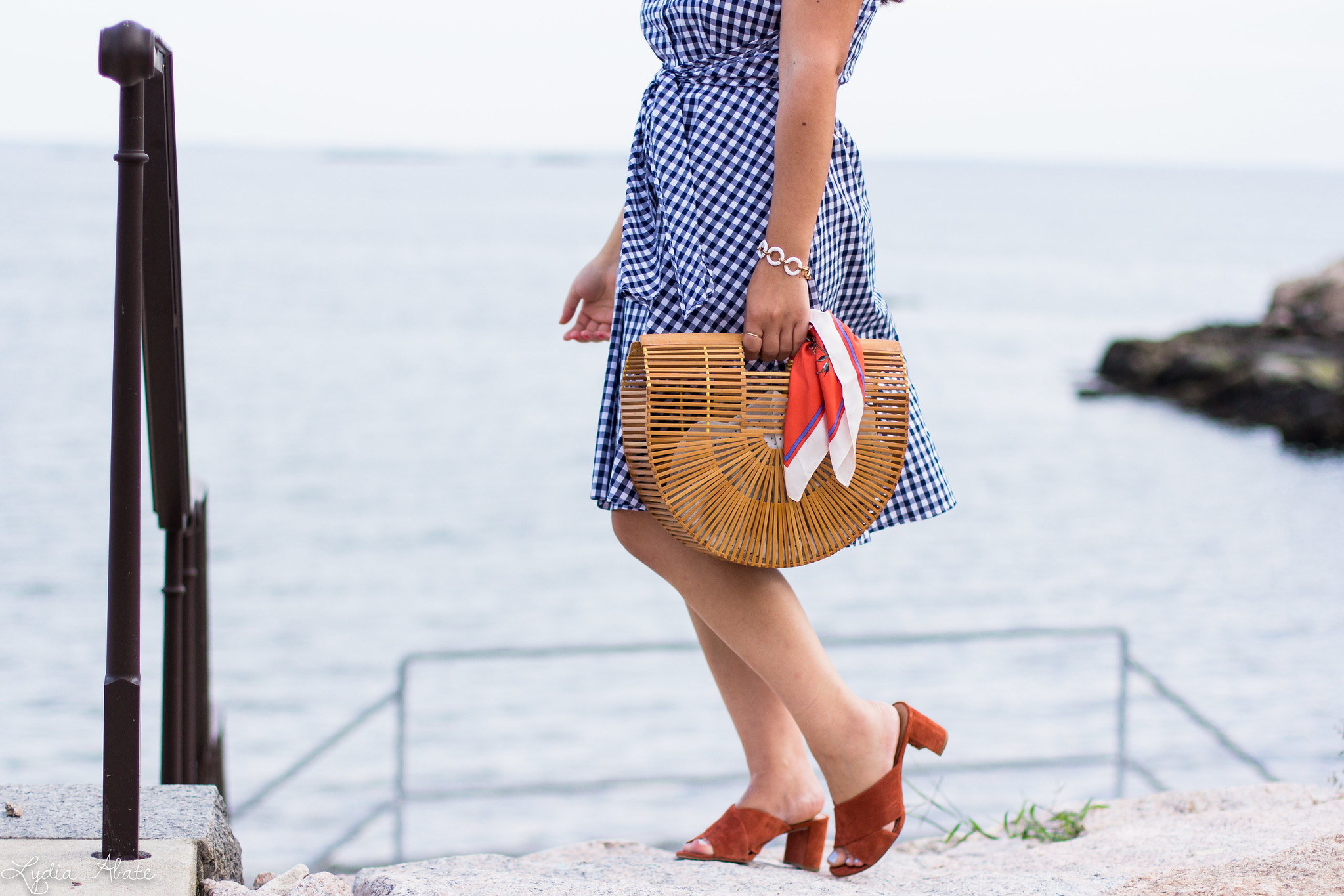 gingham dress, rust mules, bamboo half moon bag-8.jpg