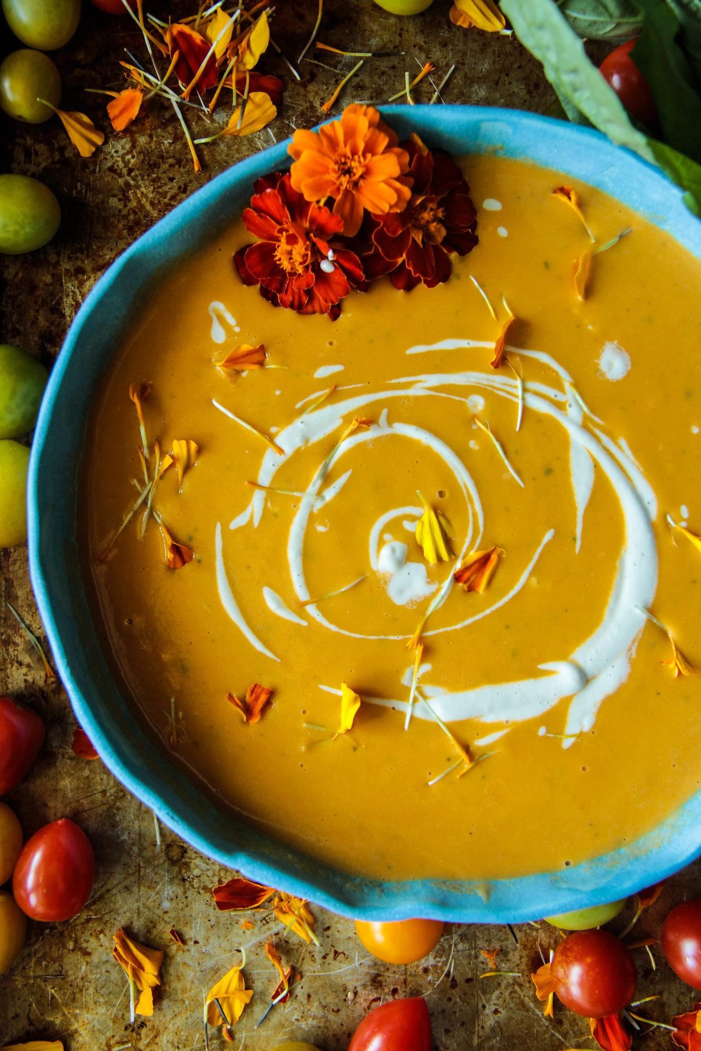 Creamy Vegan Tomato Basil Soup from HeatherChristo.com