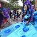 DSC_8401 Notting Hill Caribbean Carnival London Exotic Colourful Turquoise Blue and Purple Costume with Ostrich Feather Headdress Girls Dancing Showgirl Performers Aug 27 2018 Stunning Ladies