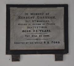 Herbert Garnham, killed in action in France
