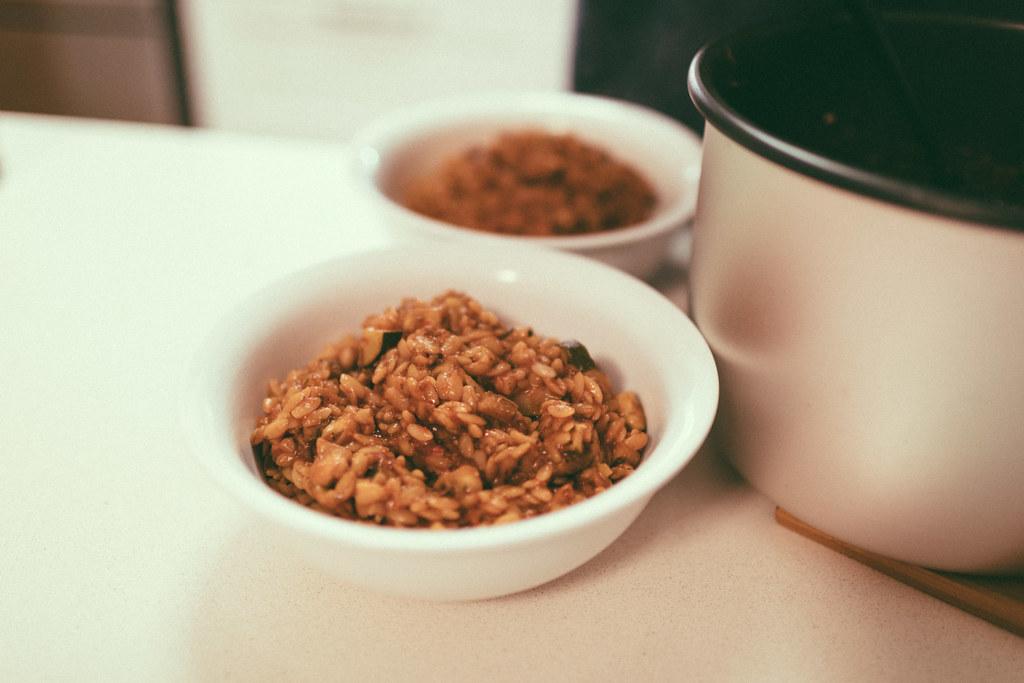 Dinner: pressure-cooker risoni and veggies