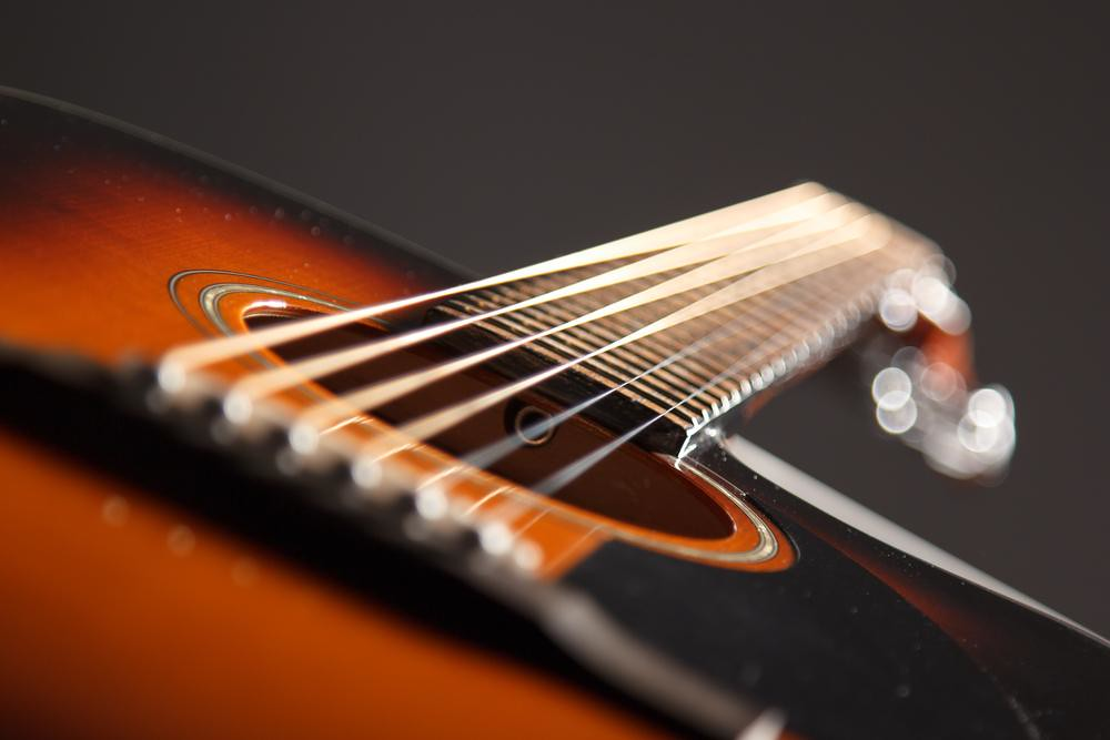 dramatic photo of a guitar