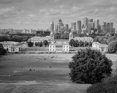 The Queen's House, Greenwich Park, and Canary Wharf - black and white - August 2018